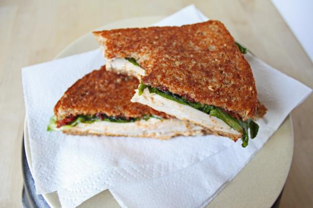Brick Smashed Turkey Sams With Black Olive Hummus