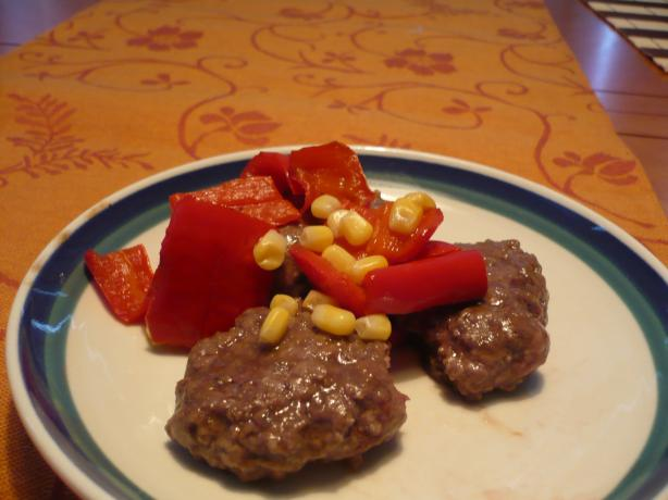 Teriyaki Ground Beef Paillards With Corn and Red Pepper Relish