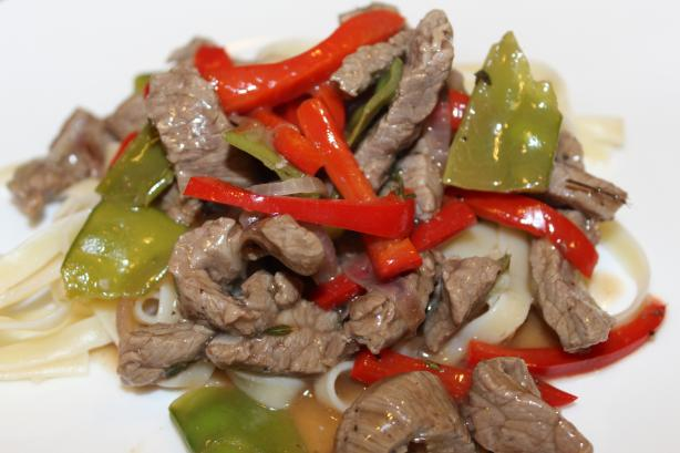 Garlicky Beef With Peppers