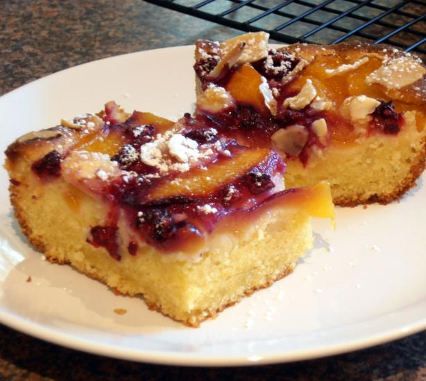 Peach - Raspberry Almond Cake