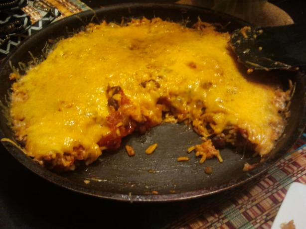 Anuj's Skillet Cheesy Beans and Rice