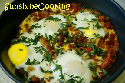 Solar Cooked Algerian Chakchouka With Eggs