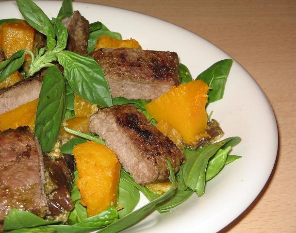 Warm Lamb Pumpkin and Pesto Salad