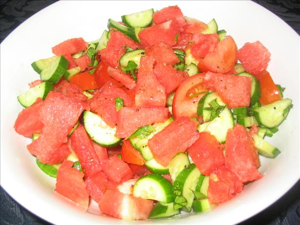 Watermelon, Cucumber and Tomato Salad
