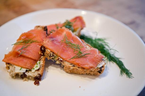 Smoked Salmon on Irish Soda Bread Crostini