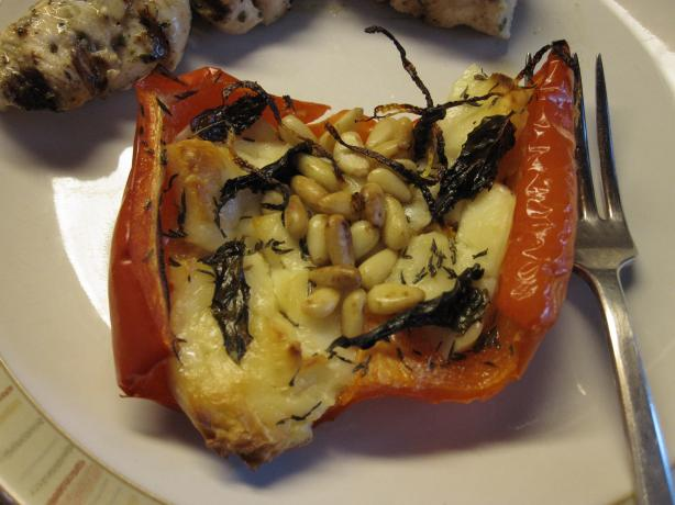 Roasted Red Peppers With Halloumi
