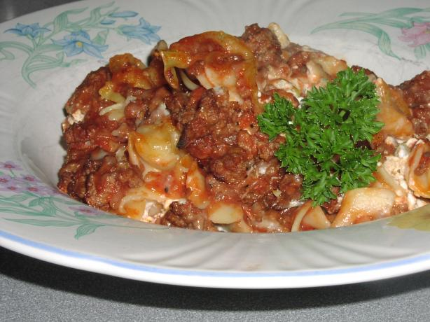 Hamburger Noodle Bake for Two