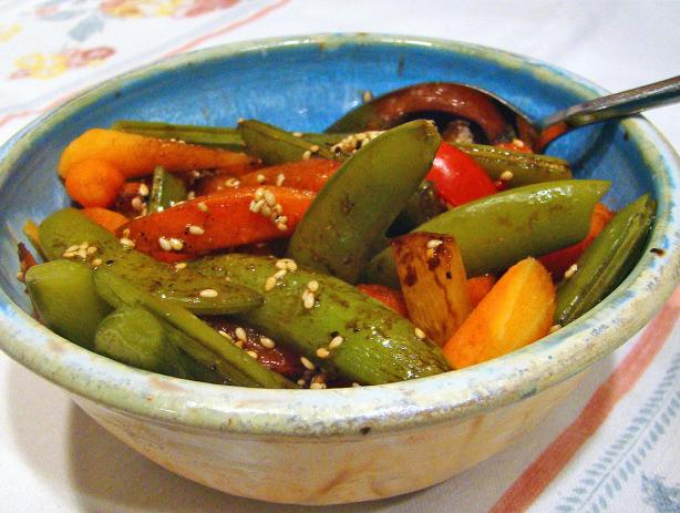 Sesame Snap Peas With Carrots and Peppers