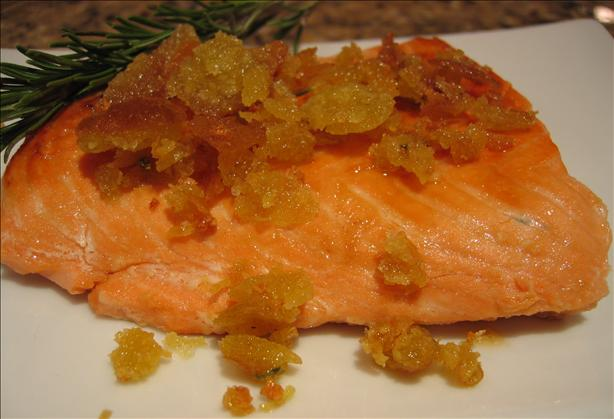 Salmon With Lemon Glaze and Rosemary Crumbs