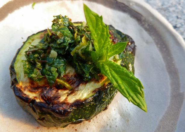 Grilled Zucchini Mint Gremalata