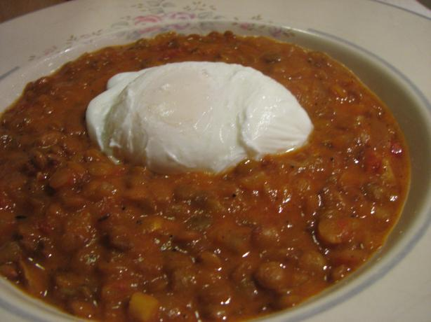 Poached Eggs With Slow Cooked Spicy Lentils