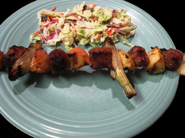 Sausage Fennel and Apple Skewers