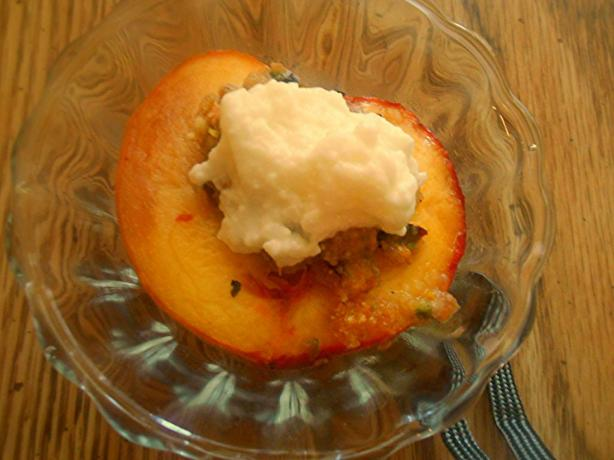 Baked Peaches With Pistachio Nuts