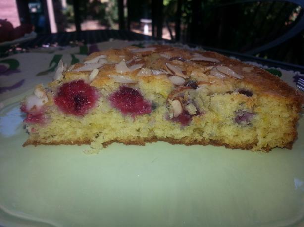Raspberry Almond Buttermilk Cake