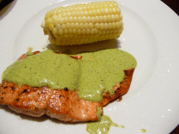 Salmon With Cilantro and Roasted Serrano Aioli