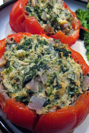 Baked Tomatoes Stuffed With Chicken and Spinach