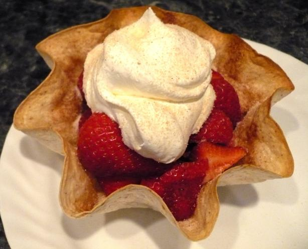 Fresh Fruit in Baked Tortilla Shell