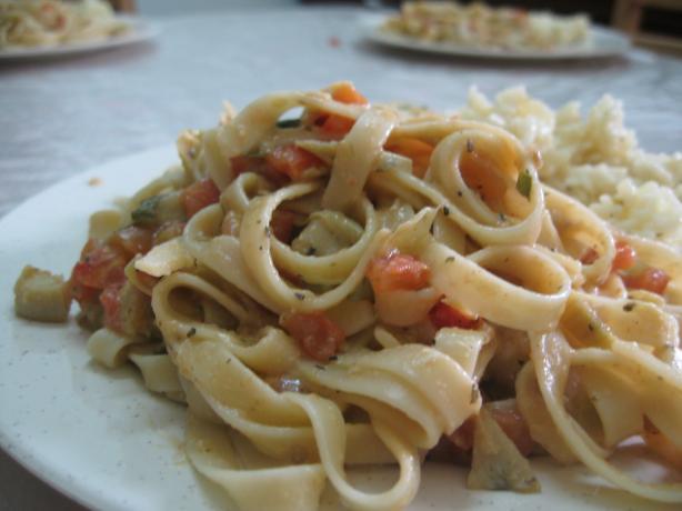 Vegan Artichoke and Tomato Alfredo