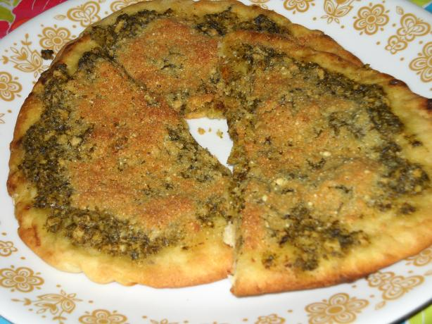 Toasted Flat Bread With Pesto