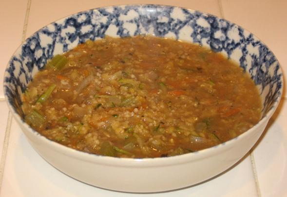 Red Lentil, Zucchini & Couscous Soup