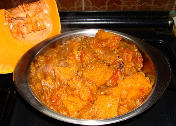 Curried Pumpkin in Tomato Sauce