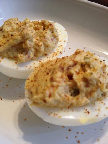 Ghost Pepper and Bacon Deviled Eggs