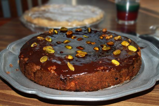 Dark Chocolate, Pear, Pistachio Cake