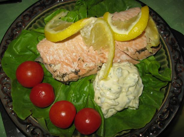 Poached Salmon With Lemon Mayonnaise