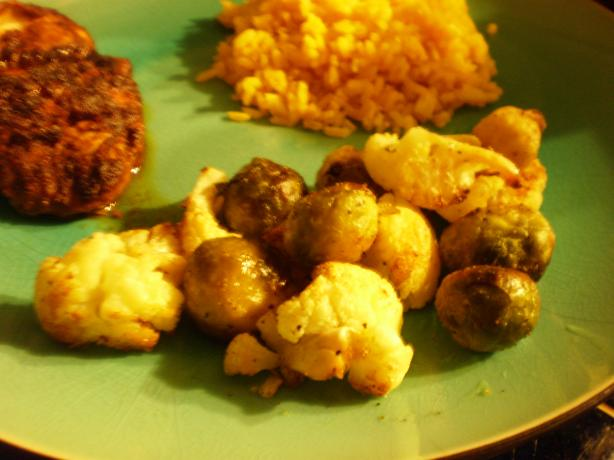 Roasted Brussels Sprouts and Cauliflower