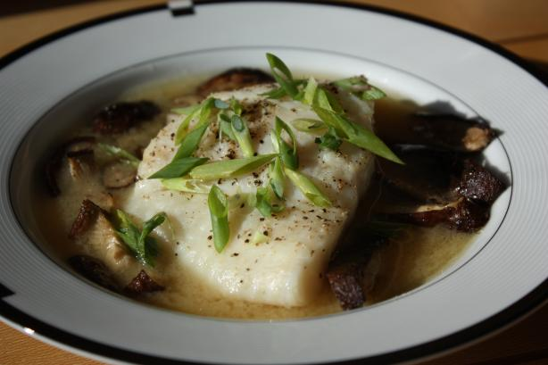 Roasted Cod With Shiitake Mushrooms In Miso Broth