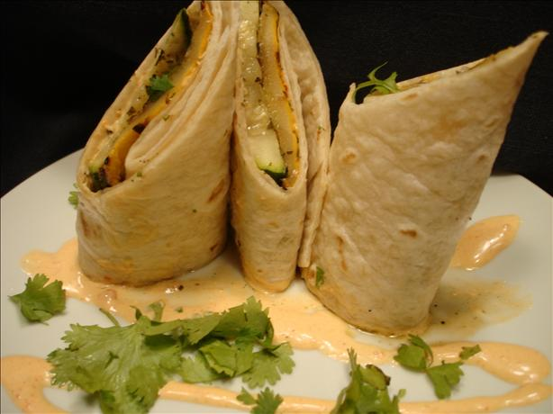 Grilled Vegetable Tortilla Roll With Roasted Jalapeno Mayonnaise