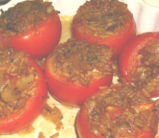 Baked Tomatoes With Basil Orzo