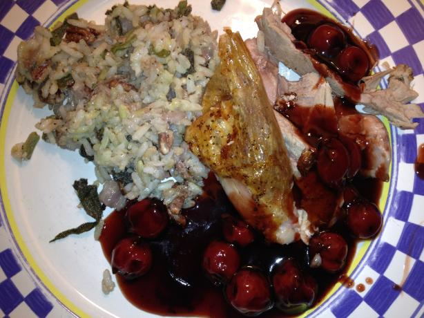 Succulent Stuffed Roast Duck With Balsamic Cherry Sauce