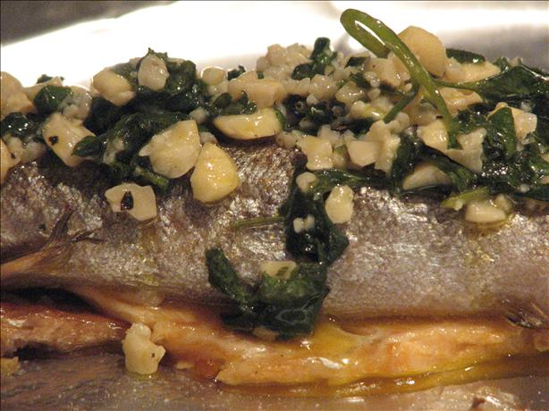 Grilled Trout With Cashew and Garlic Butter