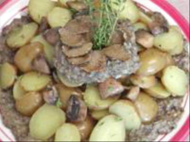 Potatoes With a Mushroom Puree & Garnished With Truffles