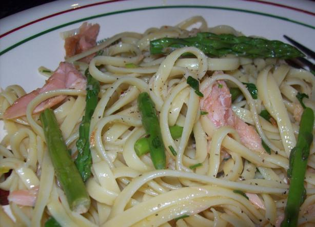 Smoked Trout Linguine With Asparagus and Lime