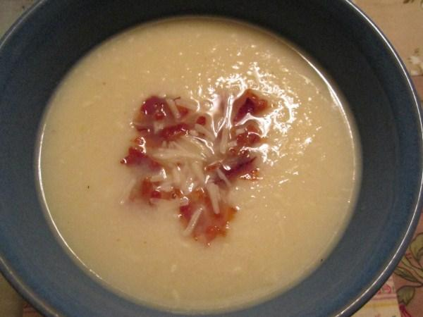 Cauliflower Soup With Crispy Prosciutto and Parmesan