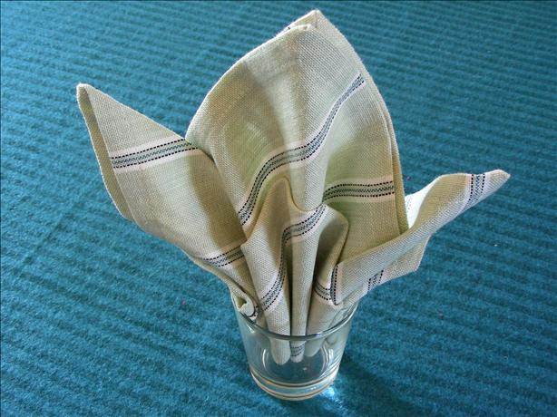 Serviette/Napkin Folding, Fleur De Lis in a Glass Version2