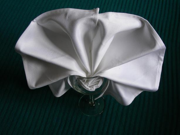 Serviette/ Napkin Folding, Set Into a Wine Glass