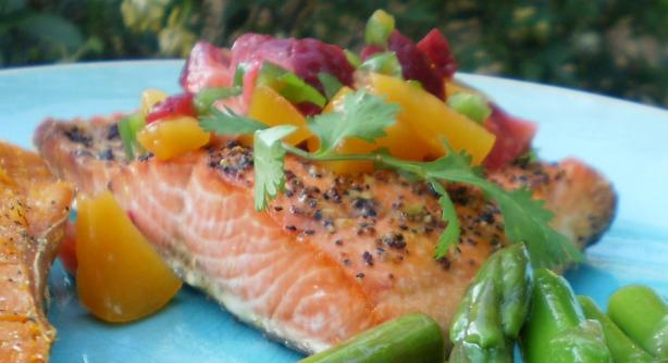 Salmon or Halibut With Fruit Salsa