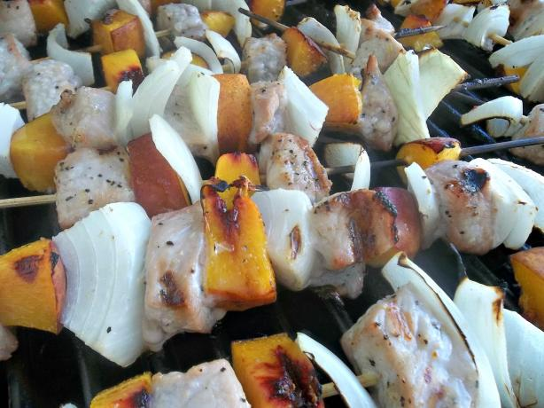 Maple Pork and Peach Skewers