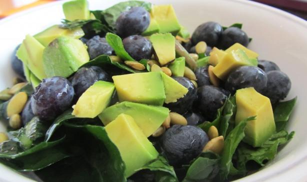 Citrusy Kale Salad W/ Blueberries and Pepitas (& Variations)