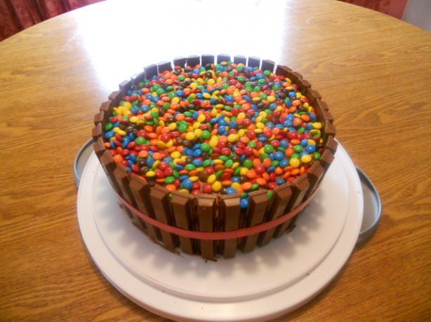 Bucket of M&M's Kit Kat Cake