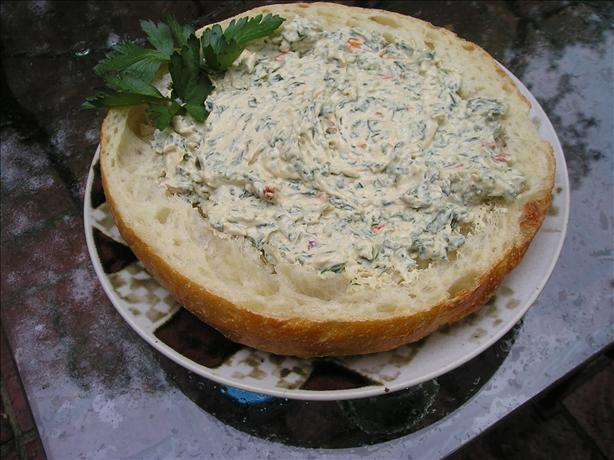 Spinach Dip in a Cobb Loaf