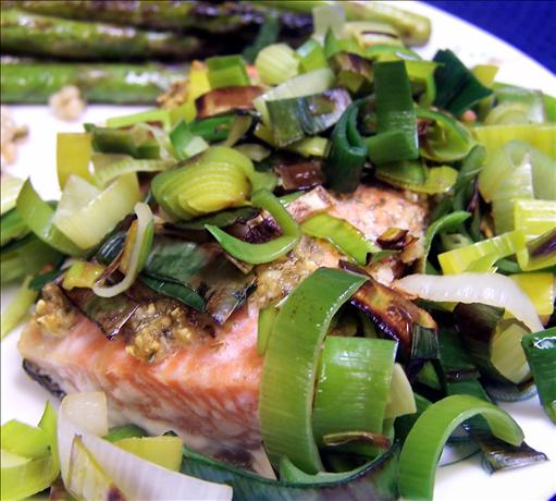 Roast Salmon With Leeks