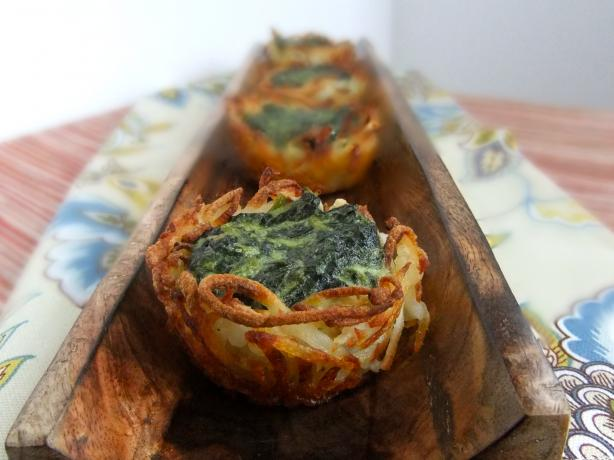 Spinach and Goat Cheese Hashbrowns Nests