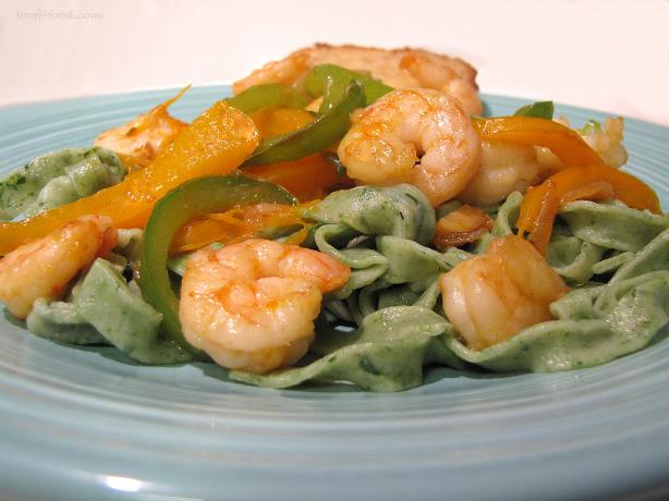 Garlicky Peppers and Shrimp