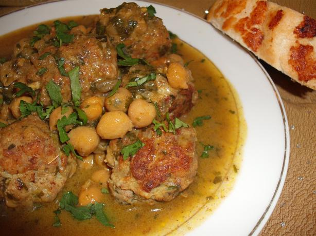 Meatballs With Chick Peas & Preserved Lemon -- Morocco