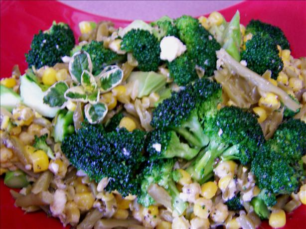 Broccoli, Corn, and Green Bean Saute