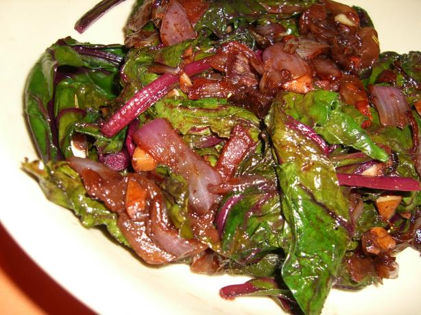 Beet Greens With Caramelized Onions
